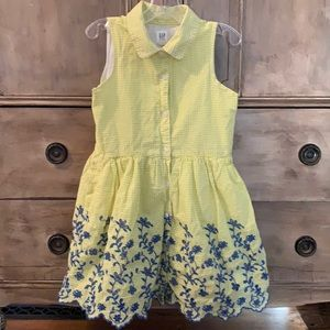 4/$20 Gap button front yellow dress